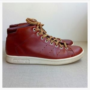Adidas Men US 7 Brown Leather Lace-Up Sneakers